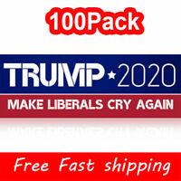 100Pack Donald Trump 2020 Bumper Sticker President 2020 Make Liberals Cry Again