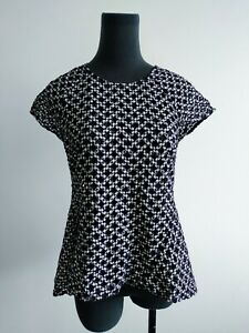Country road black White Gingham weave A Line Top XS AU 6