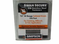 Simpson Swan Secure T18N075FNB 18-Gauge 316 Stainless Steel 3/4-Inch Brad Nails,