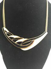 Vintage Trifari Black White Enamel Necklace Goldtone Mid Century Modern Style