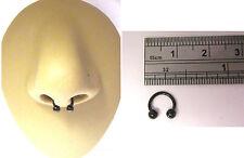 Small Black Titanium Septum Half Hoop Horseshoe Ring Barbell 18 gauge 18g 6mm