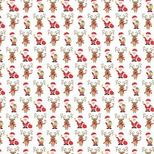 Printed Bow Fabric A4 Christmas Santa and Rudolph CM11 Make glitter bows