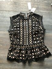 Topshop Petite Black And Nude Lace Top Uk 4 BNWT