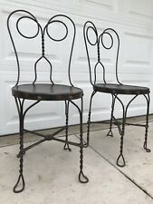 2 Old Butler Bros Twisted Wrought Iron Wood Pretzel Parlor Desk Ice Cream Chairs