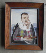 Vintage 1950s M Rogowski Signed Painting of Odd Man with Instrument
