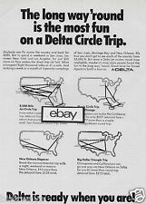 DELTA AIRLINES 1969 THE LONG WAY'ROUND IS THE MOST FUN ON DELTA CIRCLE TRIP AD