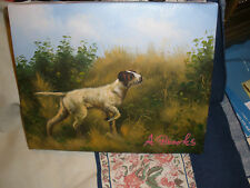 "A.Brooks: Oil/C; Hunting Dog :pointer in field; ""Good Times with Alex"" nicely do"
