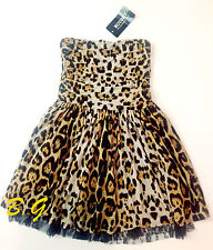 Gyaru MOUSSY Pleated Leopard Strapless Fit and Flare Lace Party Dress Clubwear