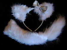 WHITE SNOW FOX orecchie e coda set con fiocco Argento INSTANT Costume Set