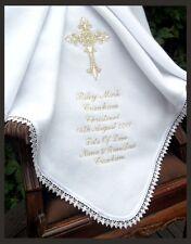 CATHOLIC BAPTISM PERSONALISED white ivory baby warm lace trim BLANKET 13