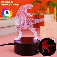 16 couleurs 3D LED dinosaure veilleuse tactile lampe de bureau chambre enfant UV