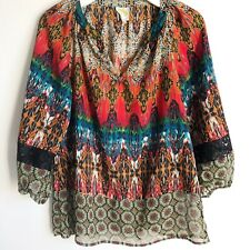 Fig & Flower Peasant Boho Top Blouse Shirt Mixed Print Anthropologie Size Small