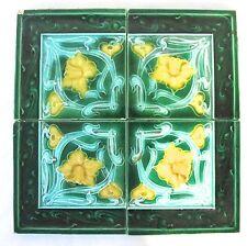 4 Antique England A.M.Ltd - Art Nouveau Majolicas - Tiles C1900 green   (#863)