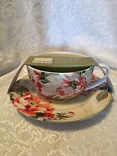 222 Fifth Floral  Oversized Coffee Soup Mug Cup Plate Set