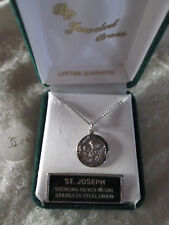 "Saint Joseph sterling silver medal 18"" chain necklace"