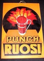 Lastra in VETRO pubblicità d'epoca PUNCH RUOSI originale anni '50 PUBBLICITARIA