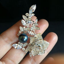 Amazing black freshwater pearl Rose flower Crystal  Brooch(white)