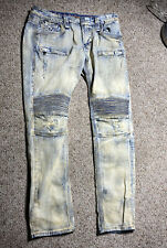 MENS ROCK REVIVAL BARRY BIKER K1 HEAVILY DISTRESSED MOTO DENIM JEANS SIZE 36