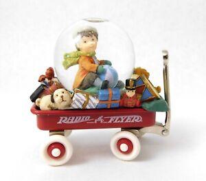 Radio Flyer Snow Globe Red Wagon Table Top Water Ball Holiday Figurine Christmas