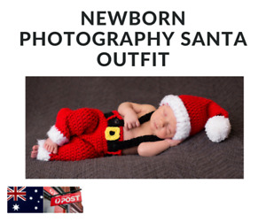 Newborn Baby Girl or Boy Knitted Christmas Santa Outfit.  Photography Clothing