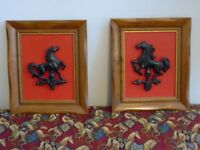2 Vtg 60s 70s Mid Century Black HORSE Weathervane Art Wall Pictures HOMCO? Wood