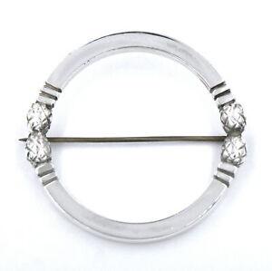 GEORG JENSEN DOUBLE ACORN CIRCLE BROOCH PIN #253 STERLING 925 DESIGNER DENMARK