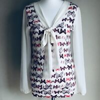 Next Cream Red Butterfly Patterned Tie Front Sheer Long Sleeve Blouse Size 12
