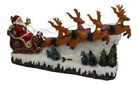 Large Santa In Snow On Sleigh With Reindeer With Led Lights & Music Battery
