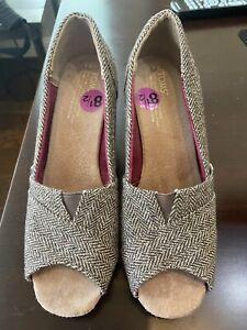 Womens Toms Open Toe Metallic Brown Tweed Wedge Heel Sandal 8.5 M