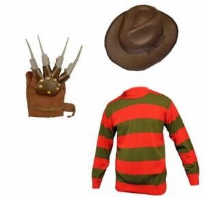 Men's Freddy Krueger Horror Fancy Dress Hat Jumper Claw Gloves Halloween ELM St
