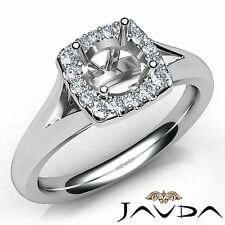 Round Cut Diamond Engagement Semi Mount 14k White Gold Halo Pave Set 0.2Ct Ring