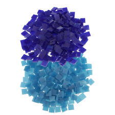 500pcs Square Glass Mosaic Tiles Pieces for Craft Mosaic Making 10x10mm Blue