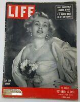 Vintage LIFE MAGAZINE OCT 15 1951 Zsa Zsa Gabor Coca Cola Ad Very Good Condition