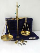 Vintage Antique  Bronze Apothecary Scale Balance With Weights in a box
