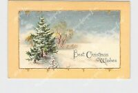 PPC POSTCARD BEST CHRISTMAS WISHES SNOW COVERED TREES FIELD GOLD EMBOSSED