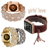 Girls Love Leather Crystal Bangle Wristwatch Bands Strap For Apple Watch iWatch