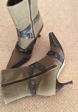 Mode in Pelle Boots Military Green Ankle Size 4 Brown Leather Straps Heels Good