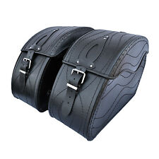 MOTORCYCLE BLACK LEATHER SADDLEBAGS PANNIERS HARLEY DAVIDSON SOFTAIL FATBOY