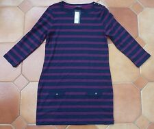 MARKS & SPENCER - Navy Tunic Top + Plum Stripes - £22.50 - NEW - Size 8