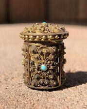 Victorian Georgian 14k Gold Persian Turquoise Filigree Miniature TAPE MEASURE