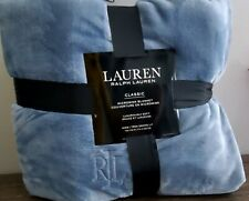 Ralph Lauren Plush Light Blue King Blanket 108 x90""