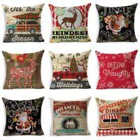 Christmas Pillow Case Cotton Linen Pillow Cushion Cover Throw Home Decor UK