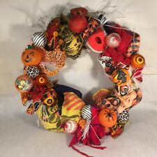 Vtg HALLOWEEN WREATH Mask Costume Crepe Paper Blow Mold Witch JOL Spider Satin