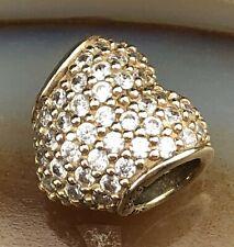 Signed ALE PANDORA 14k Gold Pave Clear Stone Heart Shape Bracelet Charm NR PJL