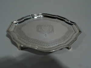 George V Salver - Small Georgian Cartouche Tray - English Sterling Silver
