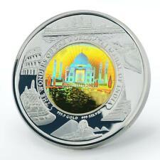 Cambodia 10000 riels Taj Mahal bimetal hologram silver coin 2005 -- 2006
