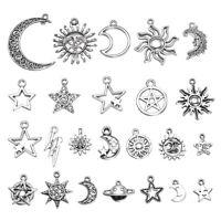 23Pcs Assorted Star Moon Sun Planet Charm Tibet Silver Pendant Bracelet Beads