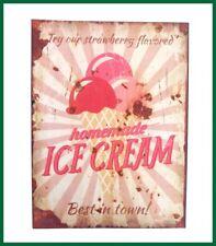 Retroschild ICE CREAM Wandschild Strawberry Schild