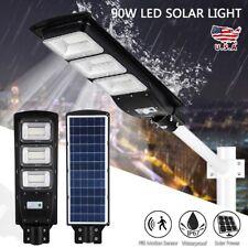90W LED Solar Street Light Outdoor Commercial Dusk to Dawn PIR Sensor Wall Lamp