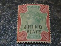 JHIND STATE INDIA POSTAGE STAMP SG32 1R GREEN & CARMINE VERY LIGHT-MOUNTED MINT